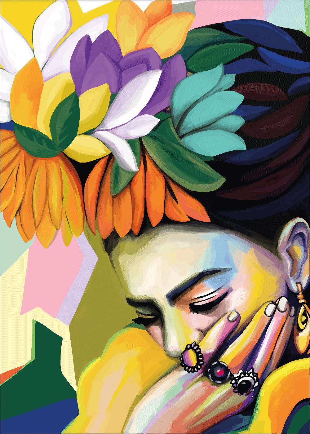 Billede af Shy Frida - Frida Kahlo inspireret plakat