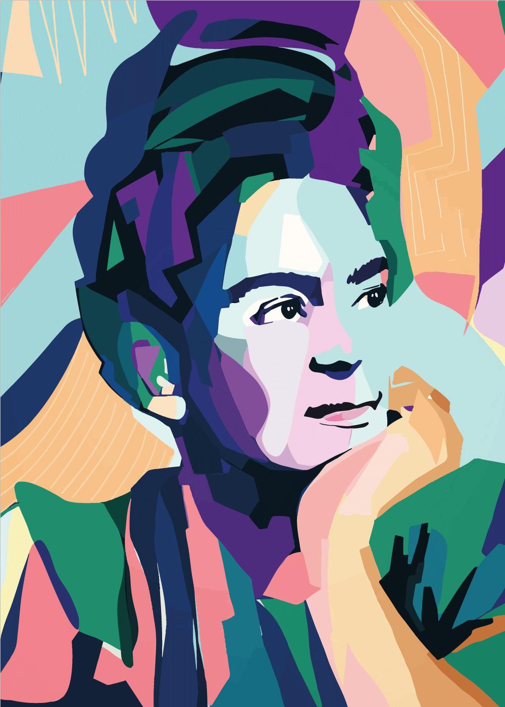 Billede af Thoughtful Frida - Frida Kahlo inspireret plakat
