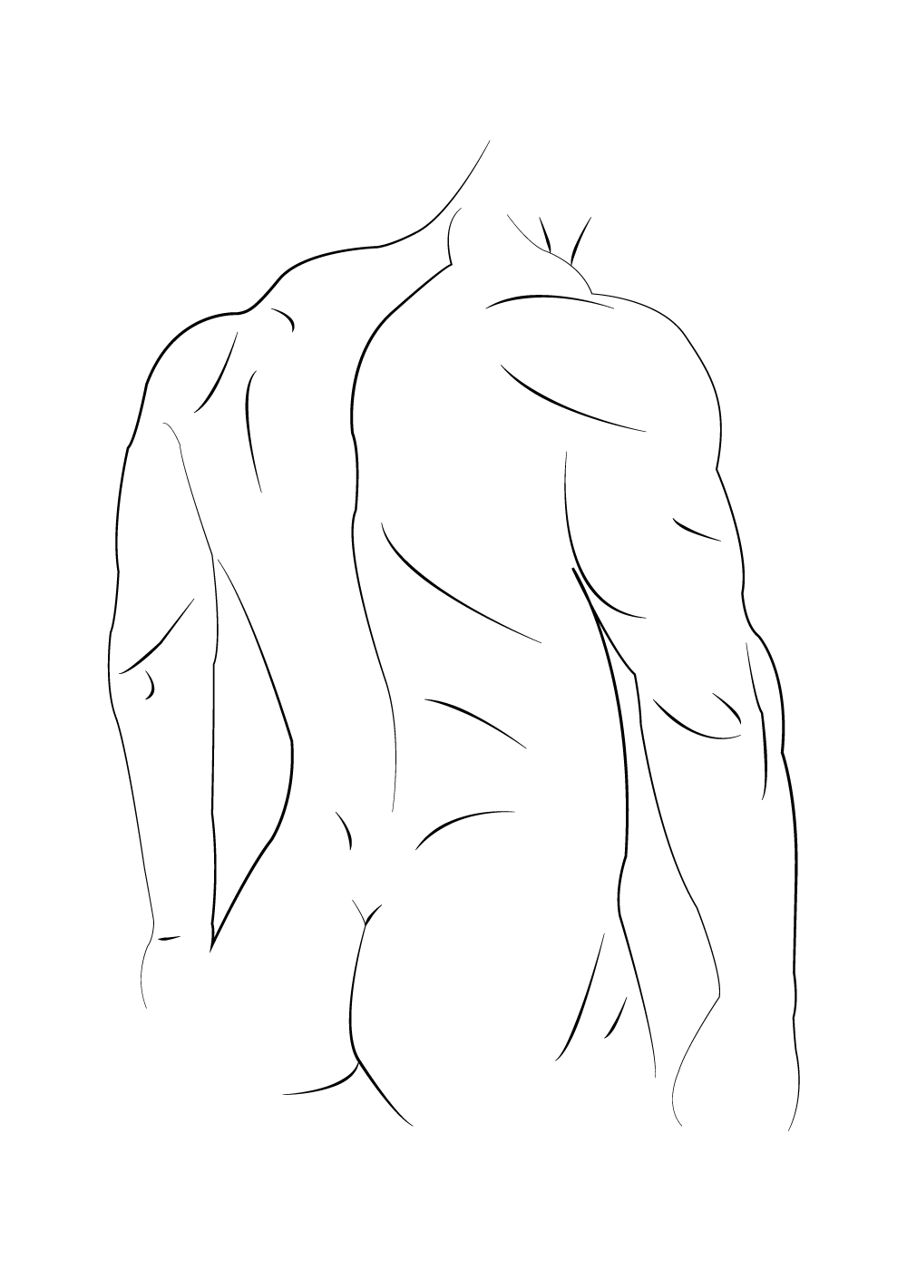 Billede af Male bag in lines - Body positivity plakat