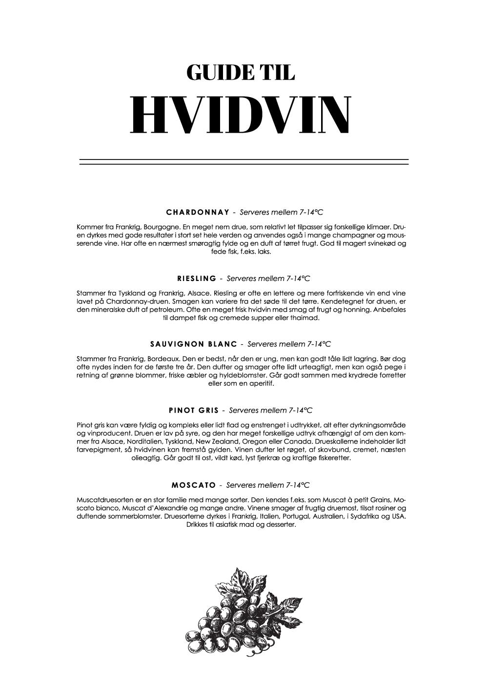 Billede af Hvidvin - Wine guide plakat