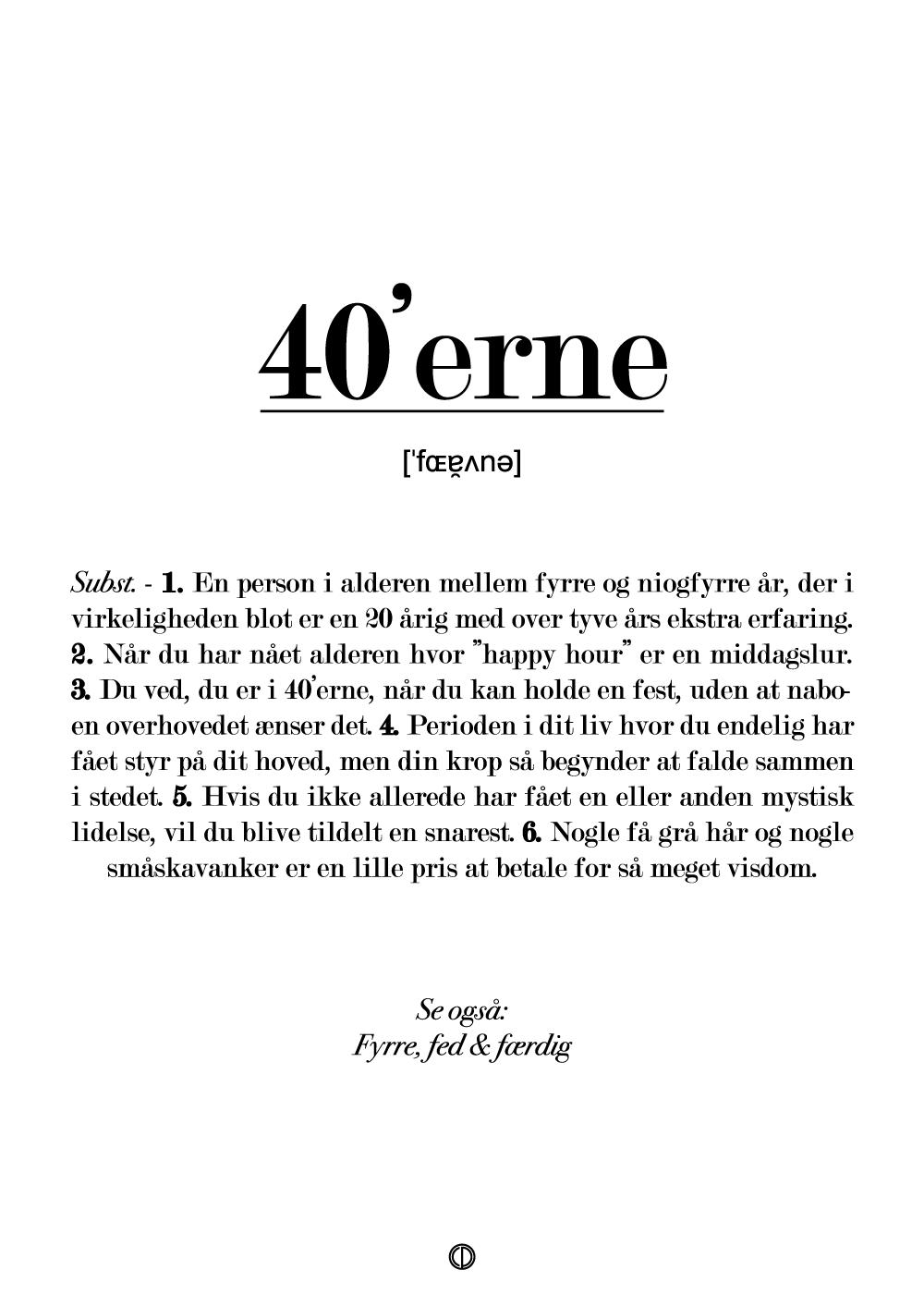 40'erne definition - plakat