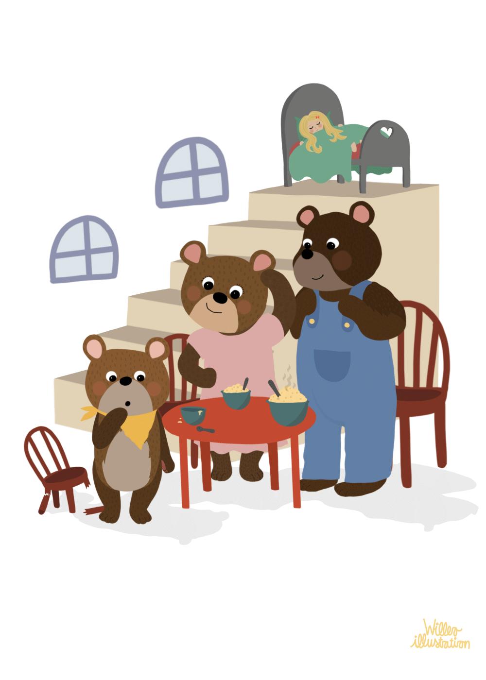 Billede af Guldlok og de tre bjørne - Børneplakat