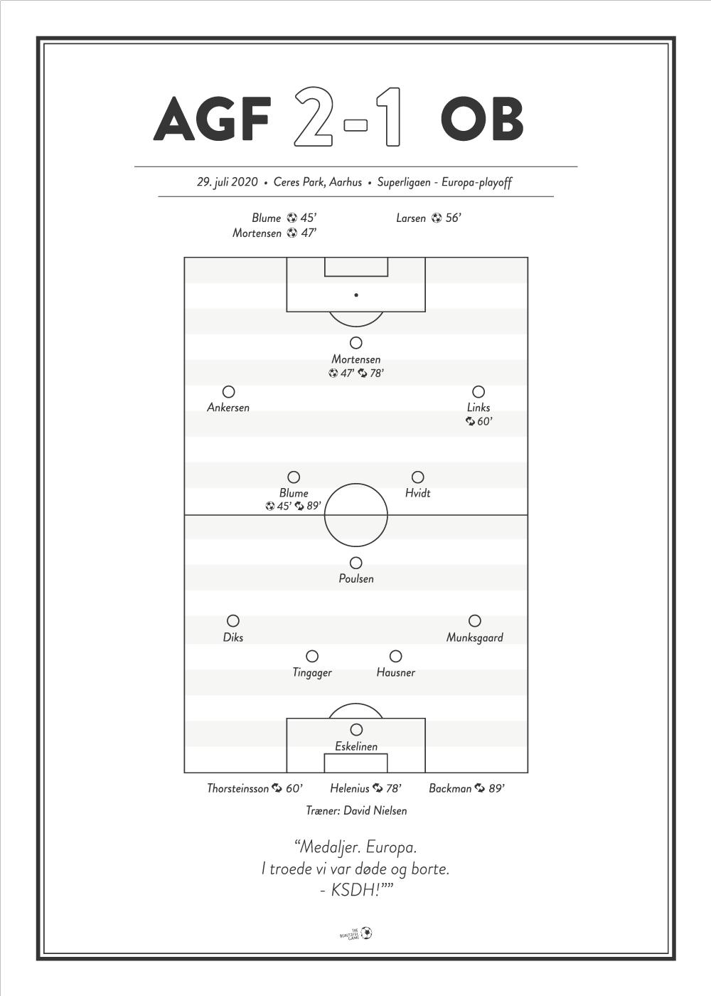 Billede af AGF - OB 2-1 Superligaen 2020 plakat