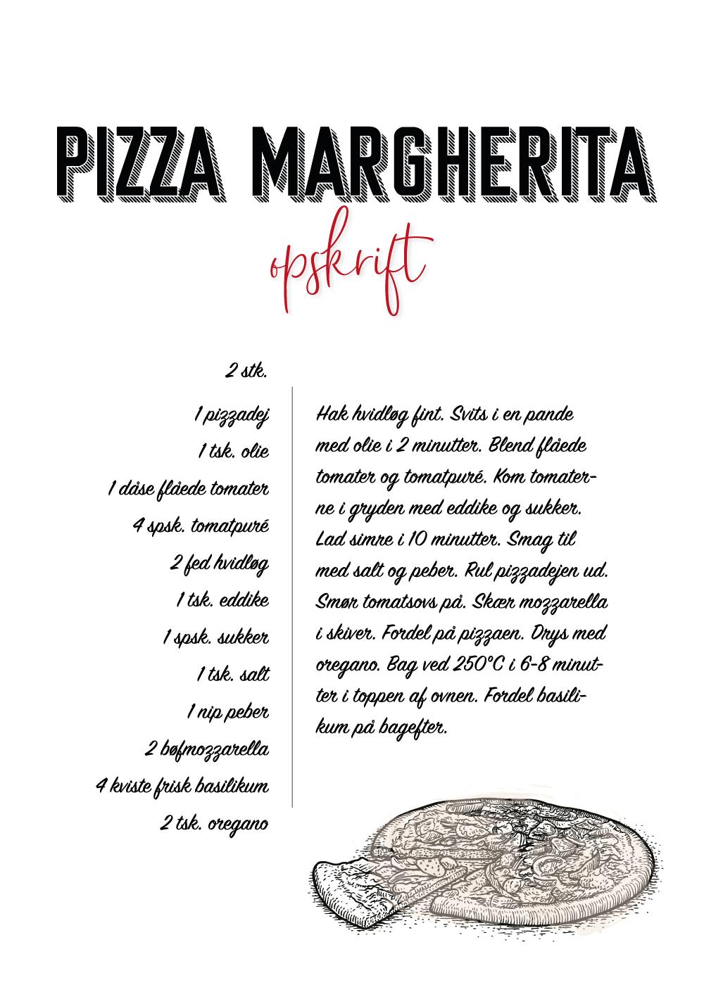 Billede af Pizza Margherita opskrift - Køkken plakat