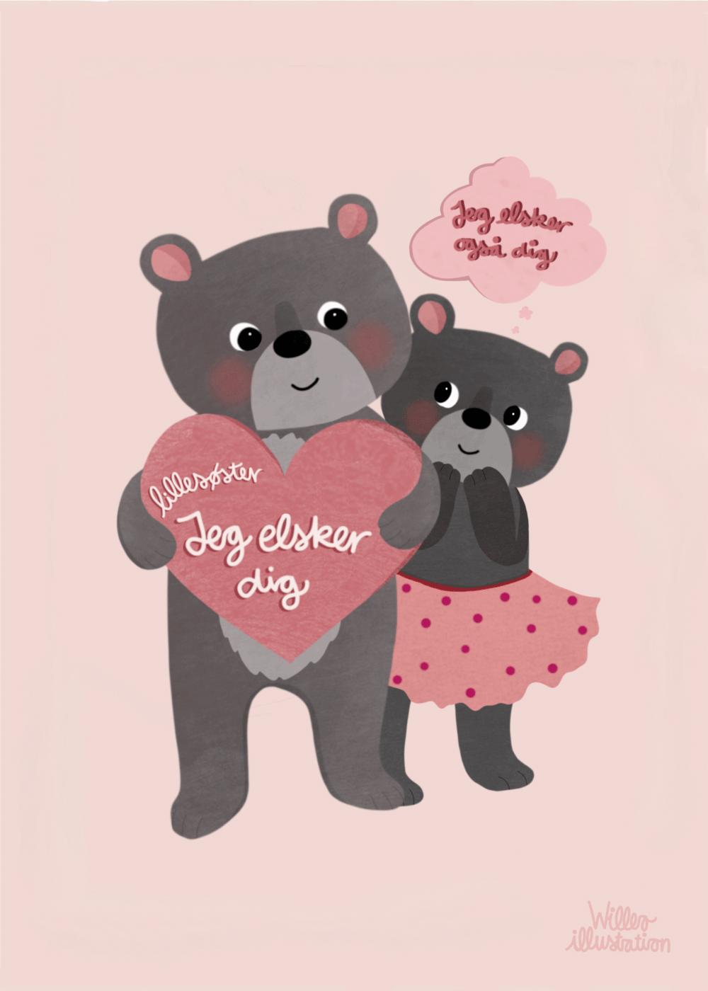 Jeg elsker dig lillesøster - Børneplakat