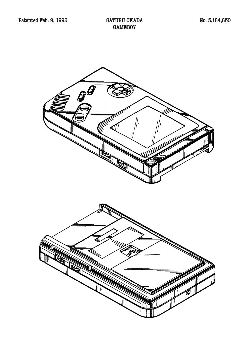 Gameboy plakat - Original patent tegning