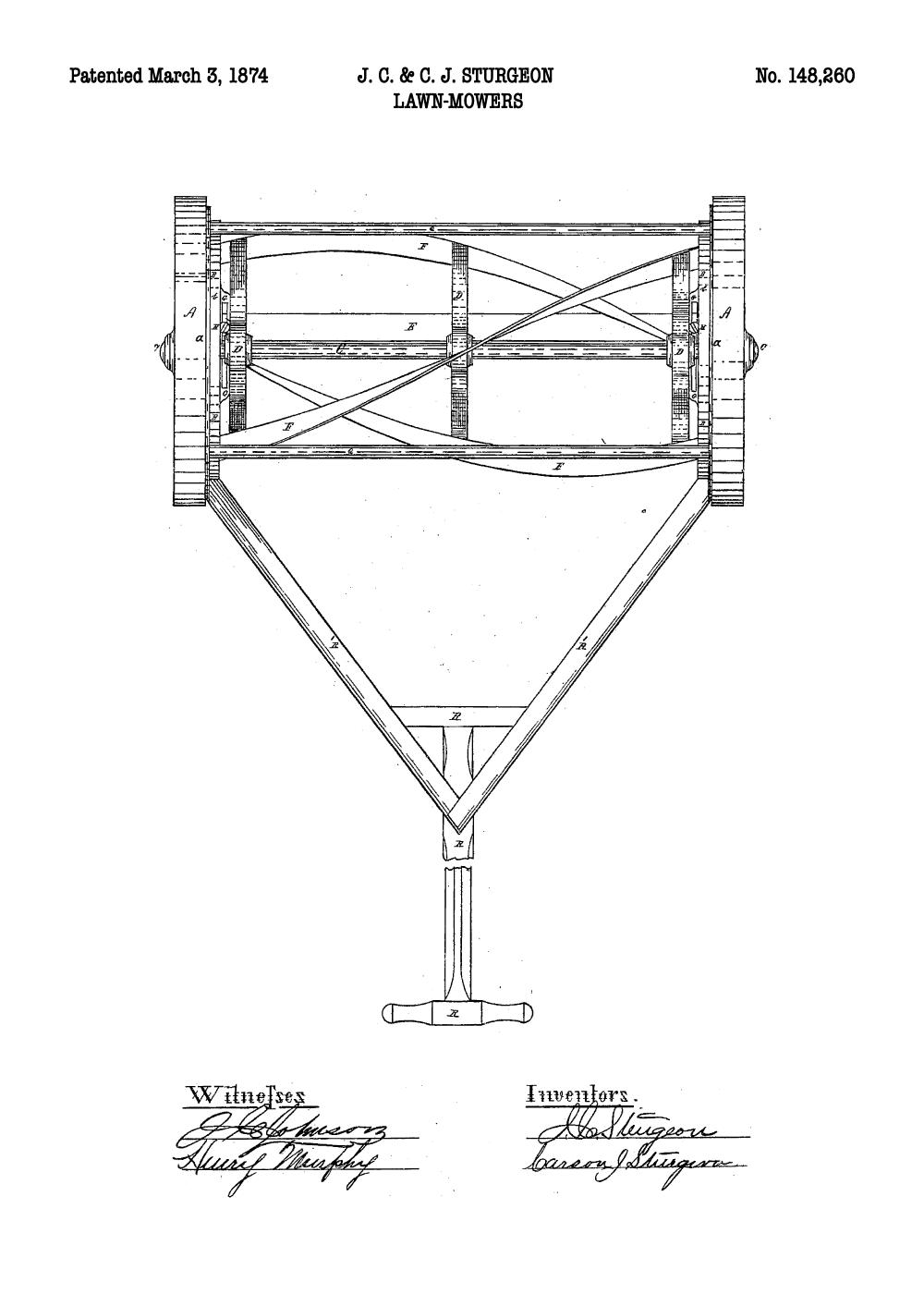Plæneklipper plakat - Original patent tegning