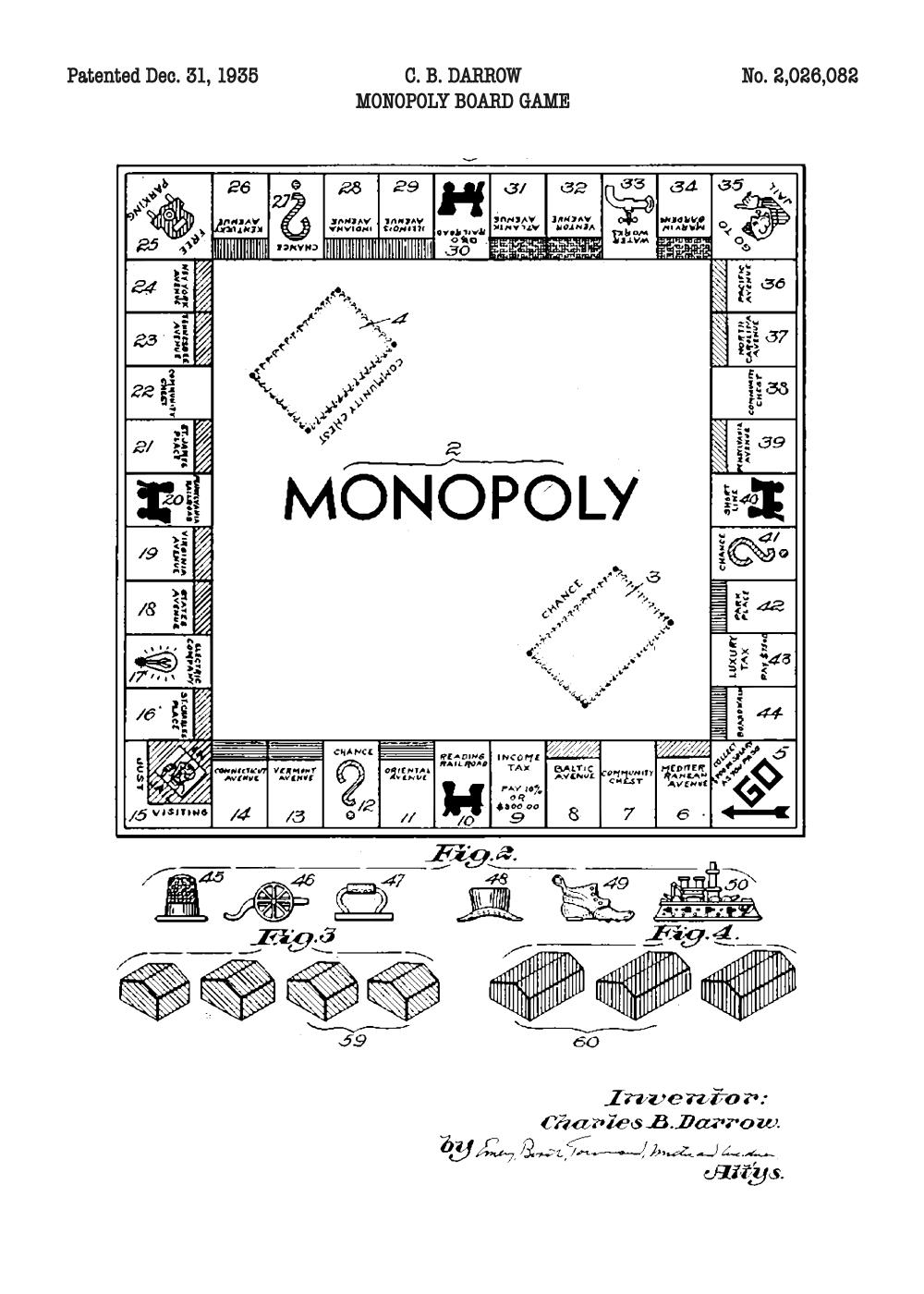 Monopoly plakat - Original patent tegning