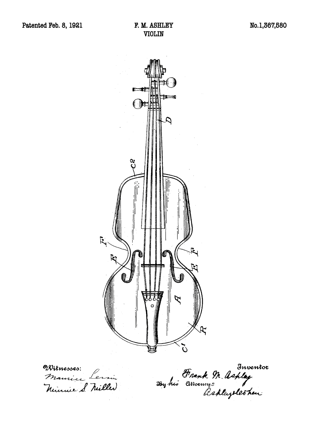 Violin plakat - Original patent tegning