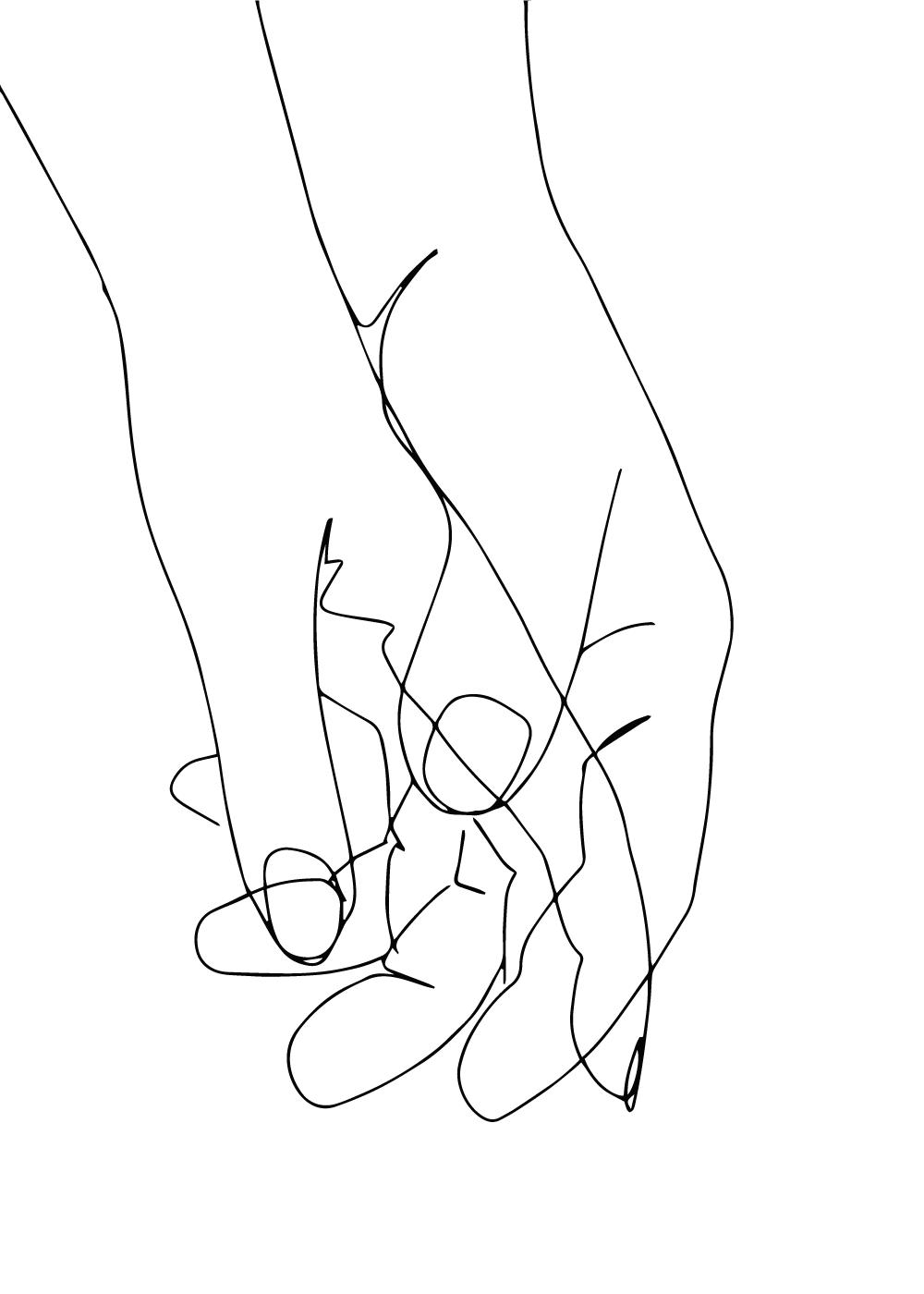 Billede af Holding hands in one line plakat