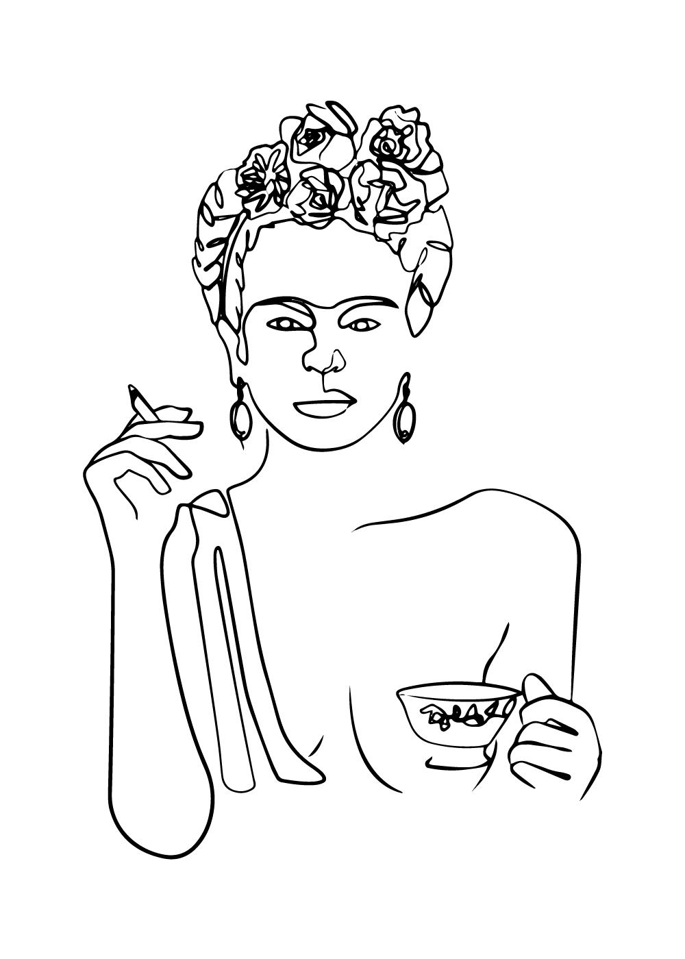 Billede af Frida Kahlo inspireret one line