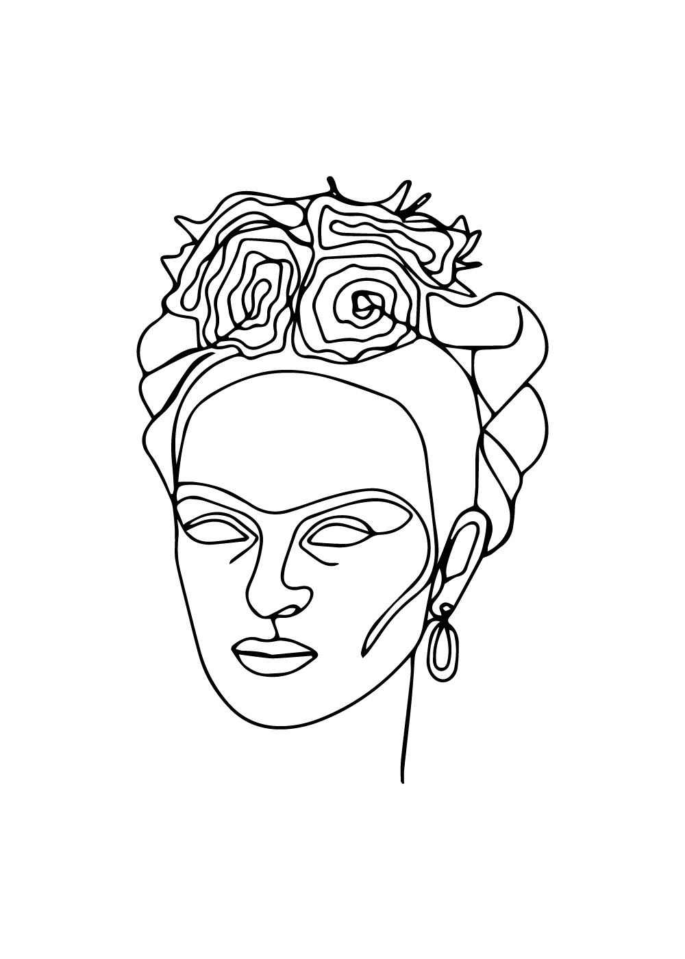 Billede af Frida Kahlo inspireret face in one line