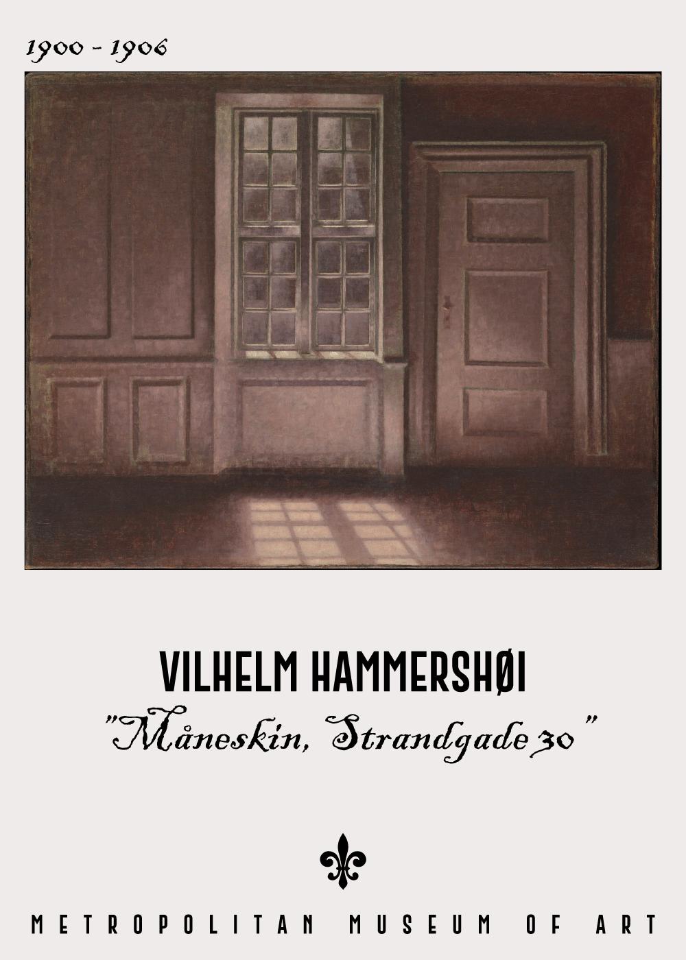 Billede af Måneskin - Vilhelm Hammershøi Kunstplakat