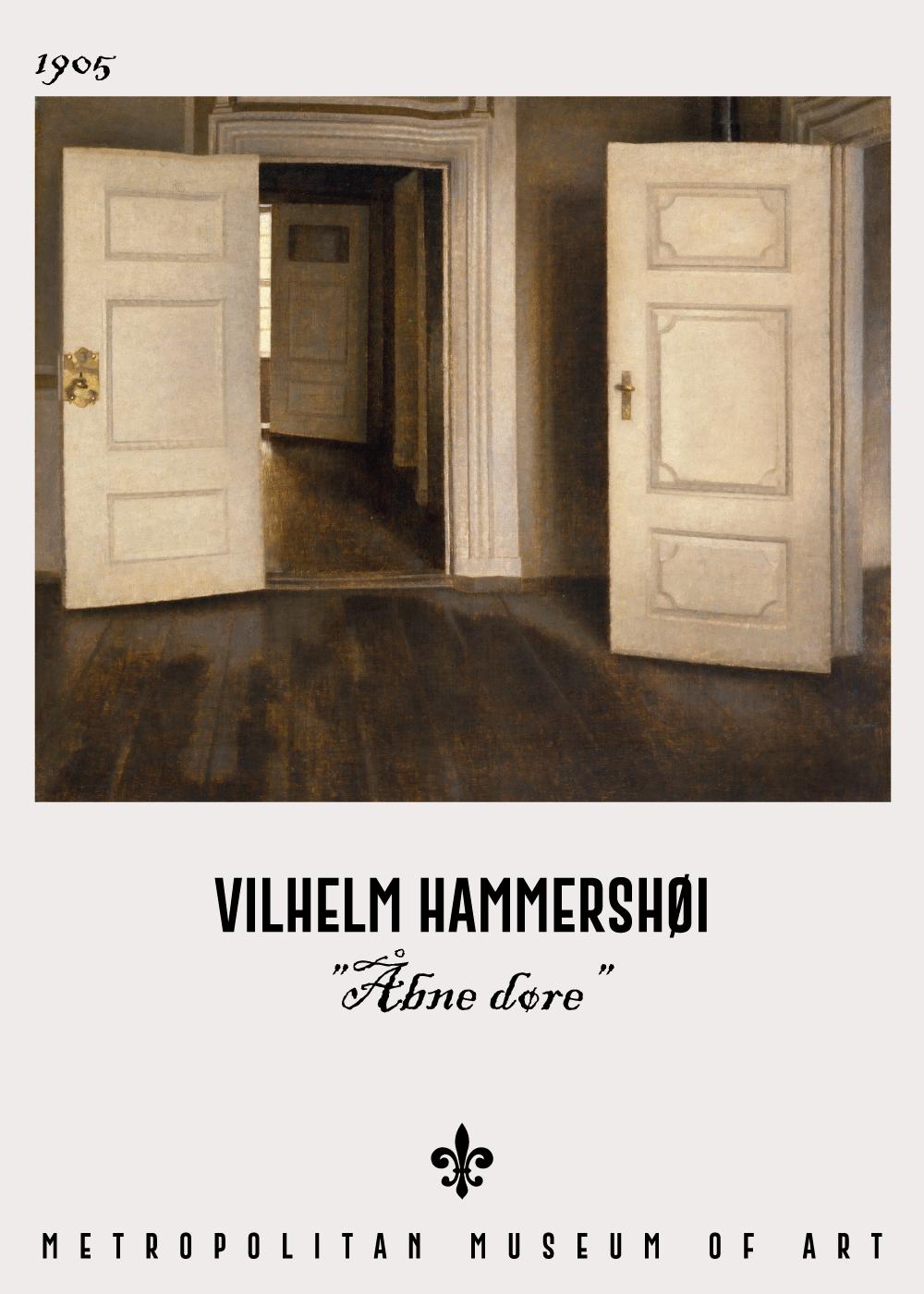 Billede af Åbne døre - Vilhelm Hammershøi Kunstplakat