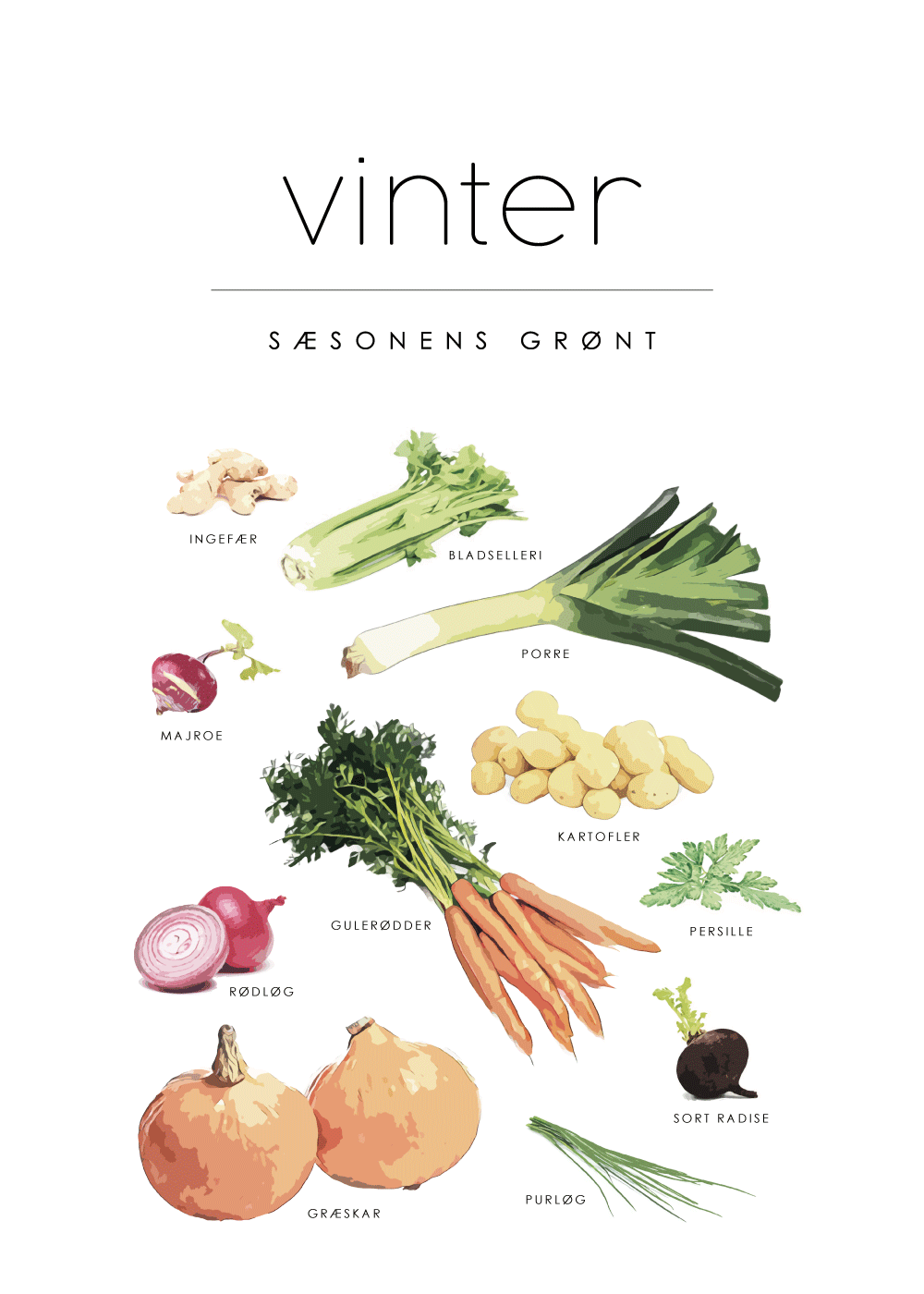 Vinter - Sæsonens grøntsager plakat