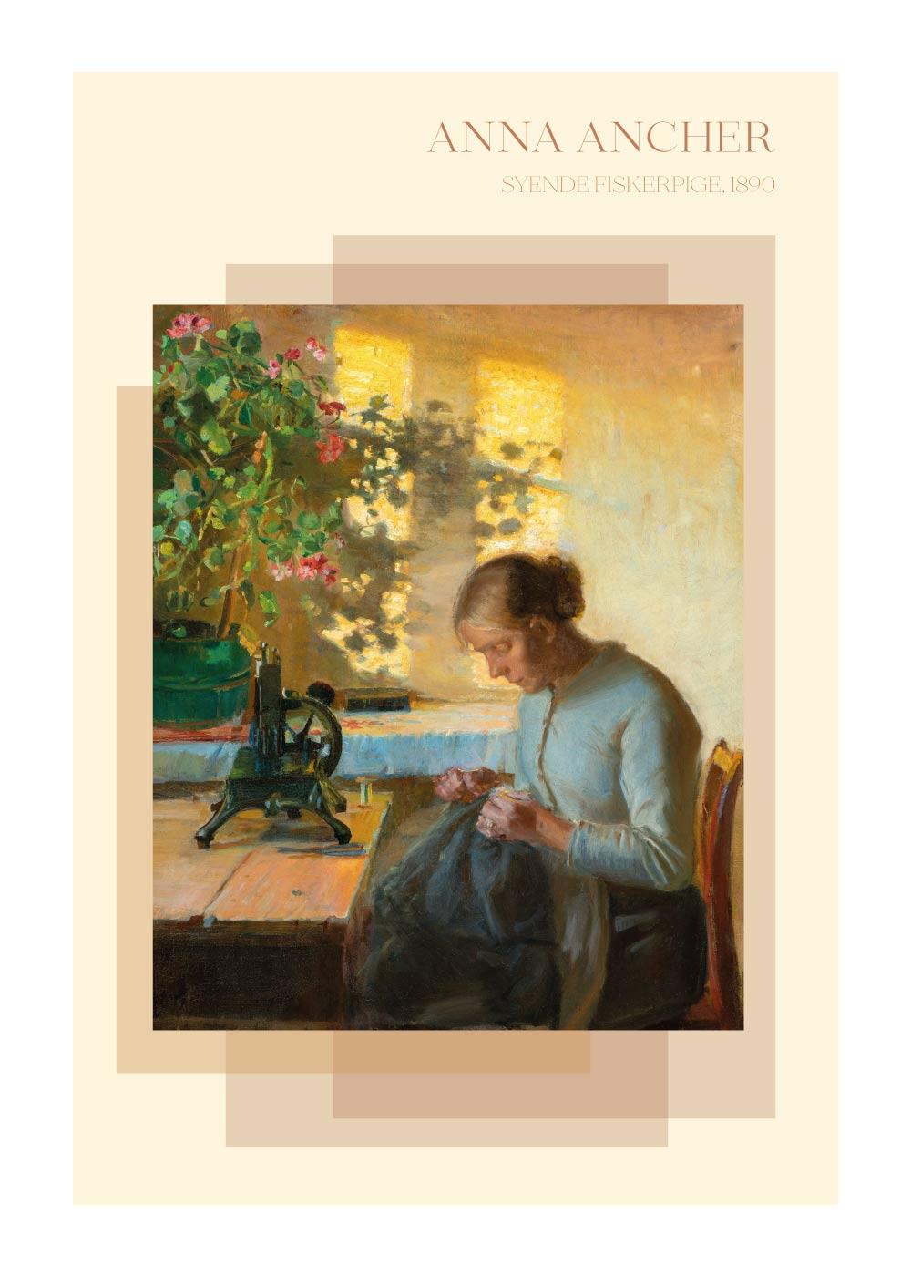 Billede af Syende fiskerpige - Anna Ancher plakat