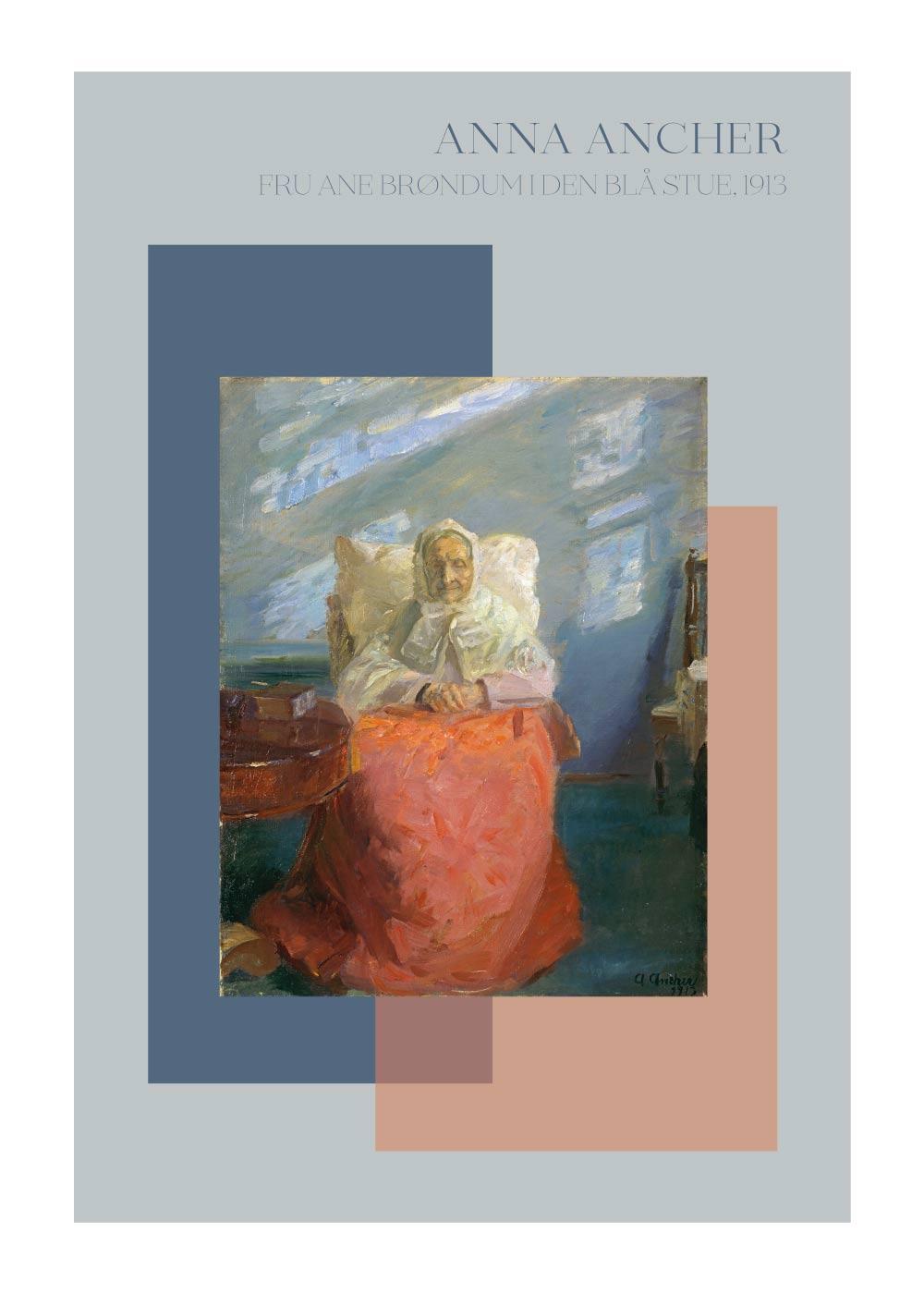Billede af Fru Anne Brøndum i den bla%CC%8A stue - Anna Ancher plakat