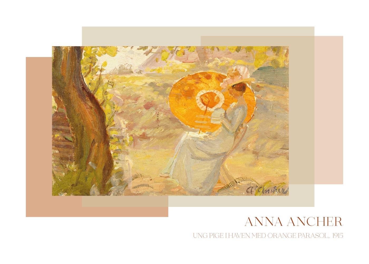 Billede af Ung pige i haven med orange parasol - Anna Ancher plakat