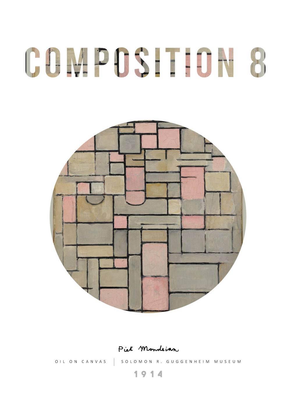 Billede af Composition 8 - Piet Mondrian