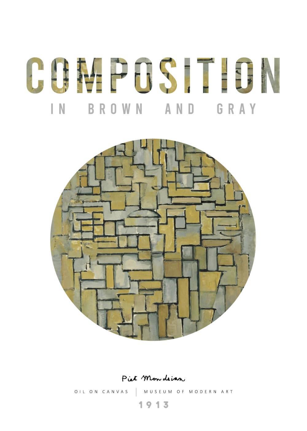 Billede af Composition in brown og gray - Piet Mondrian