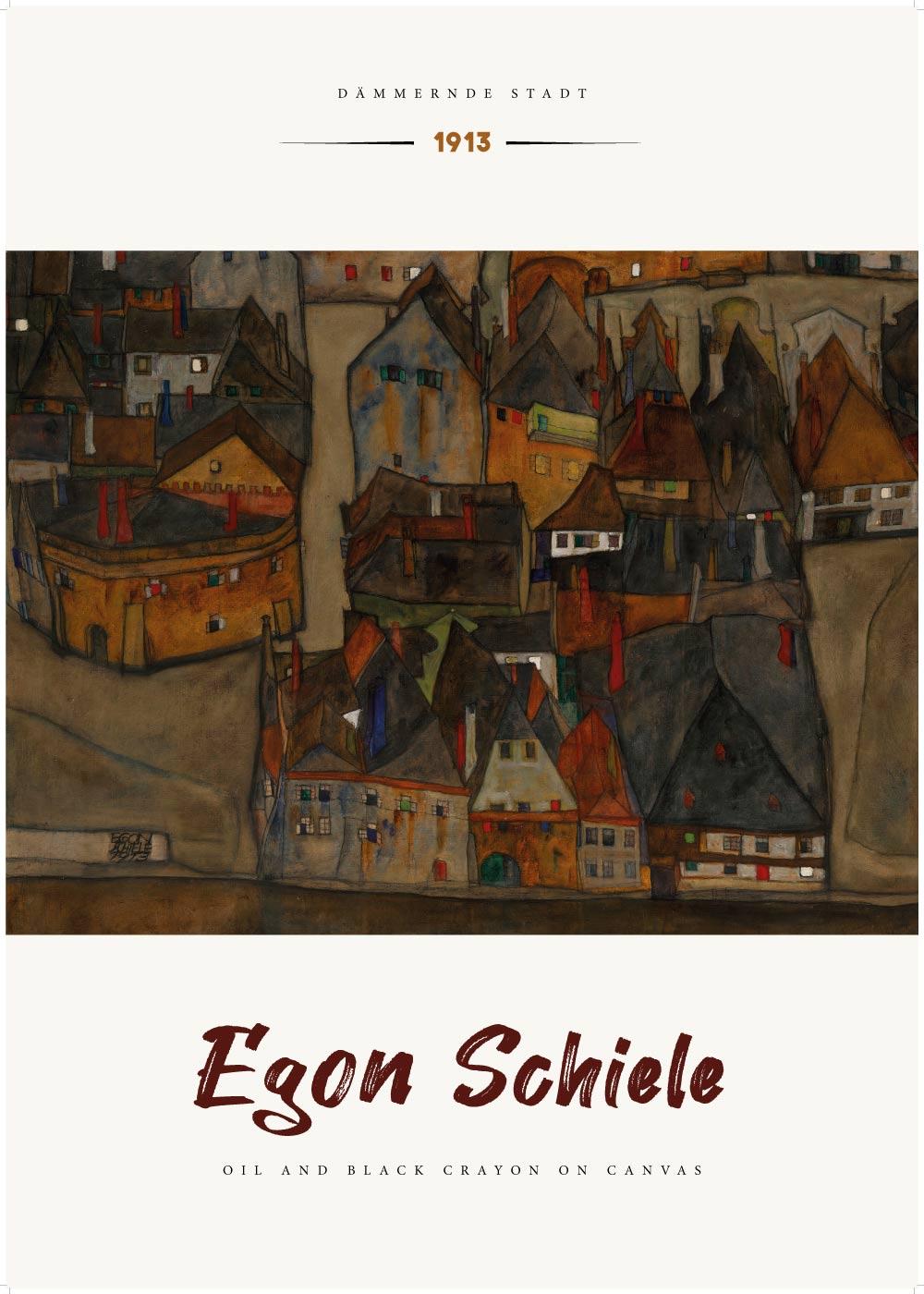 Billede af Dämmernde stadt - Egon Schiele