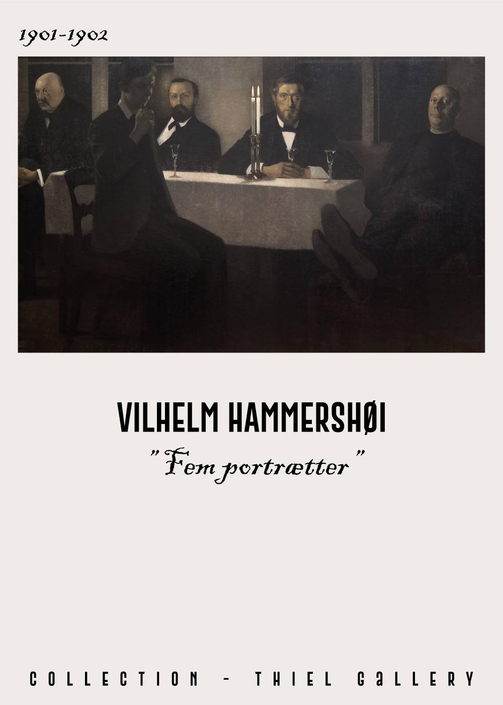 Billede af Fem portrætter - Vilhelm Hammershøi Kunstplakat