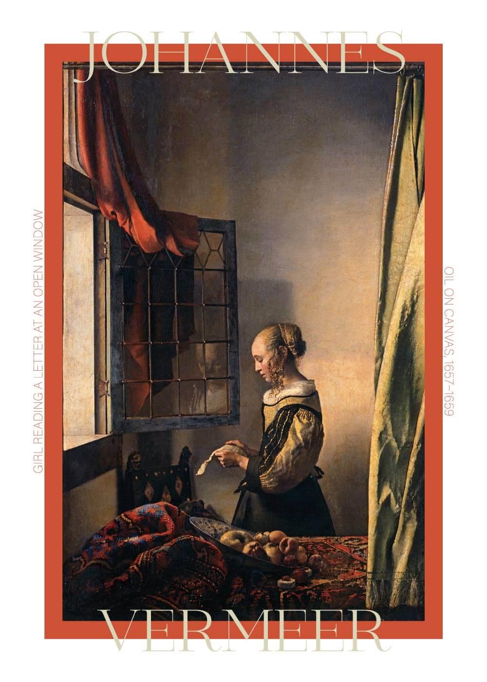 Billede af Girl reading a letter - Johannes Vermeer
