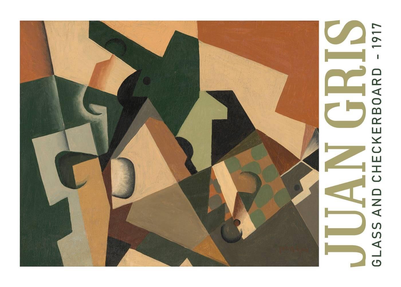 Billede af Glass and checkerboard - Juan Gris kunstplakat
