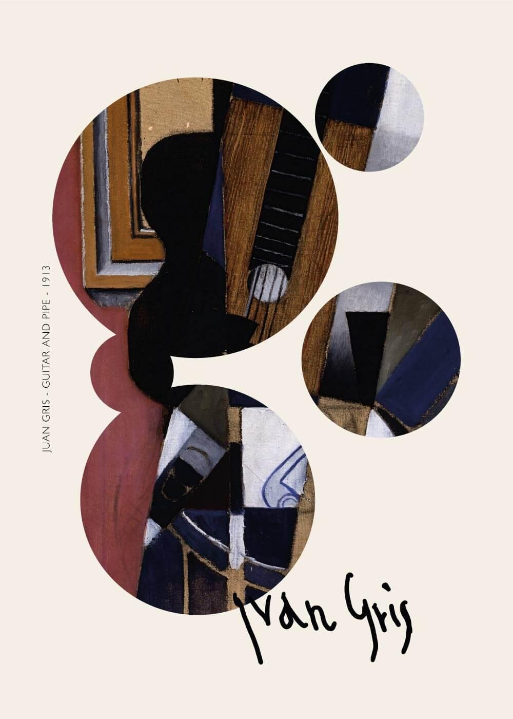 Billede af Guitar and pipe - Juan Gris kunstplakat