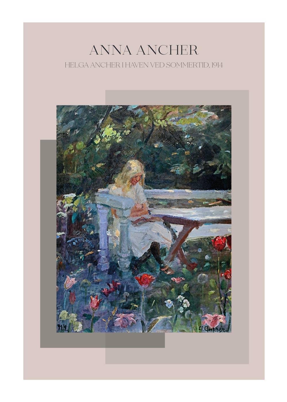 Billede af Helga Ancher i haven ved sommertid - Anna Ancher plakat