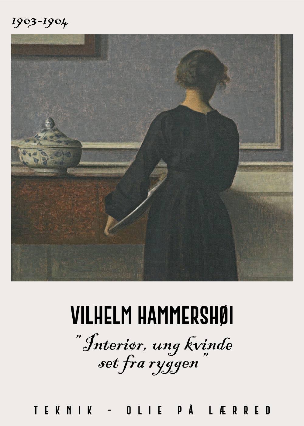 Billede af Interiør, ung kvinde set fra ryggen - Vilhelm Hammershøi Kunstplakat