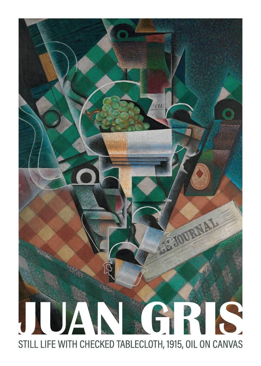 Billede af Still life with checked tablecloth - Juan Gris kunstplakat