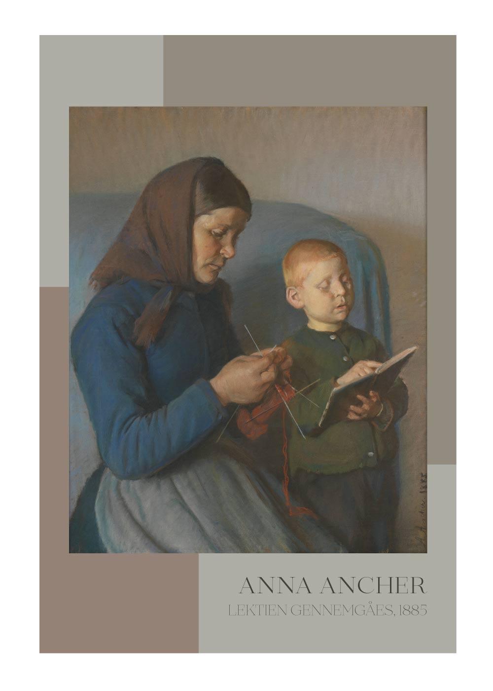 Billede af Lektien gennemga%CC%8Aes - Anna Ancher plakat