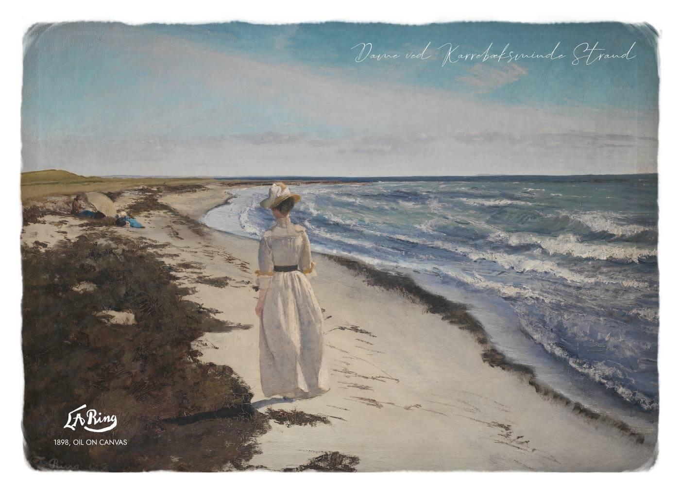 Billede af Dame ved Karrebæksminde Strand - L.A. Ring