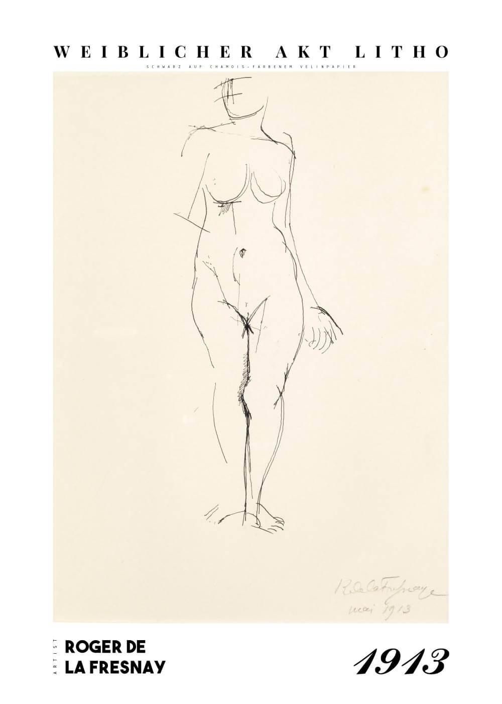 Weiblicher akt litho - Roger de La Fresnaye