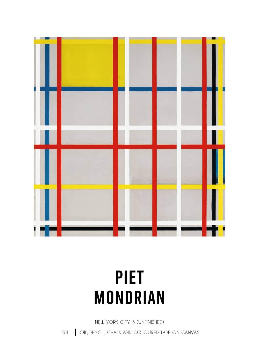 Billede af New York 3 - Piet Mondrian