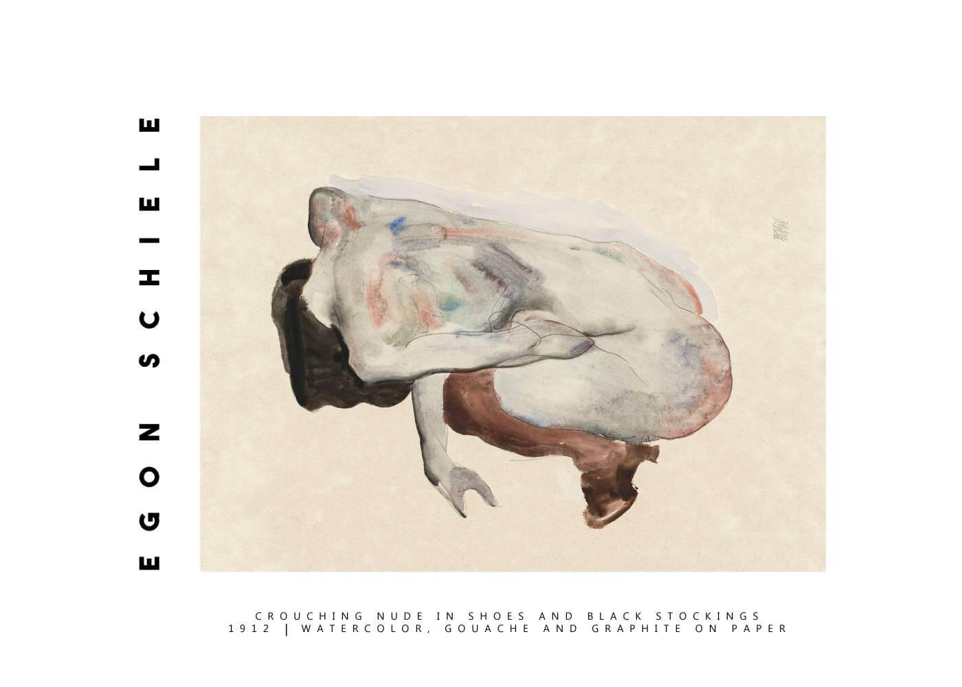 Billede af Crouching nude - Egon Schiele