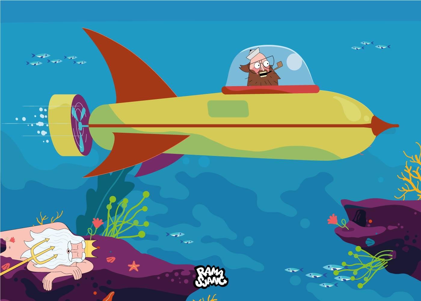 Billede af Onkel Reje i ubåden - Ramasjang plakat