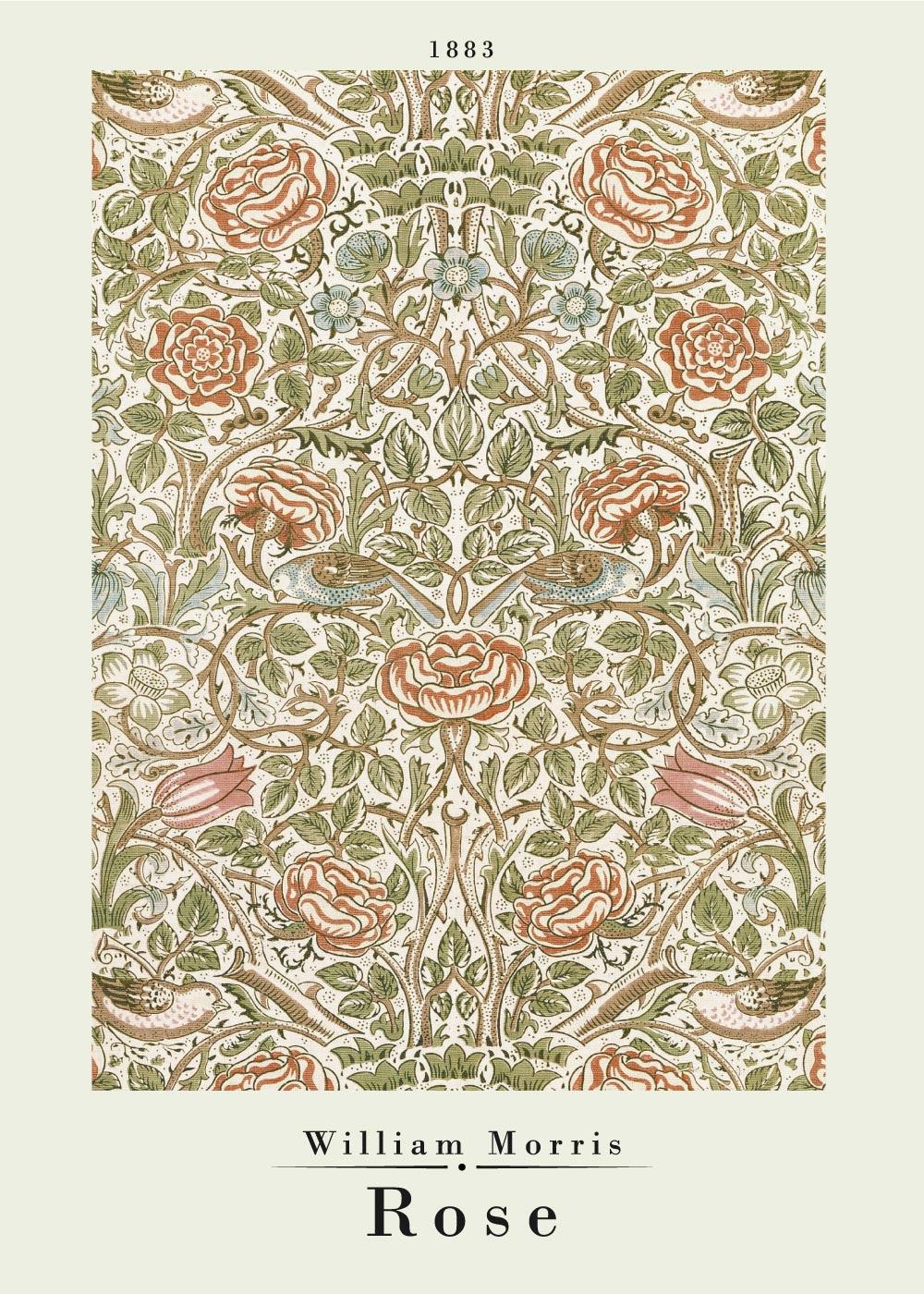 Billede af Rose - William Morris kunstplakat