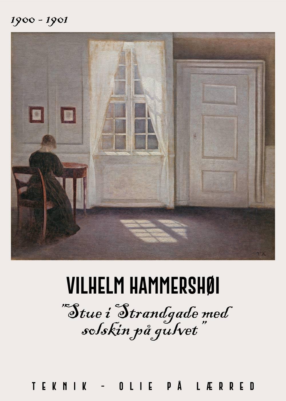 Billede af Stue i strandgade med solskin på gulvet - Vilhelm Hammershøi Kunstplakat