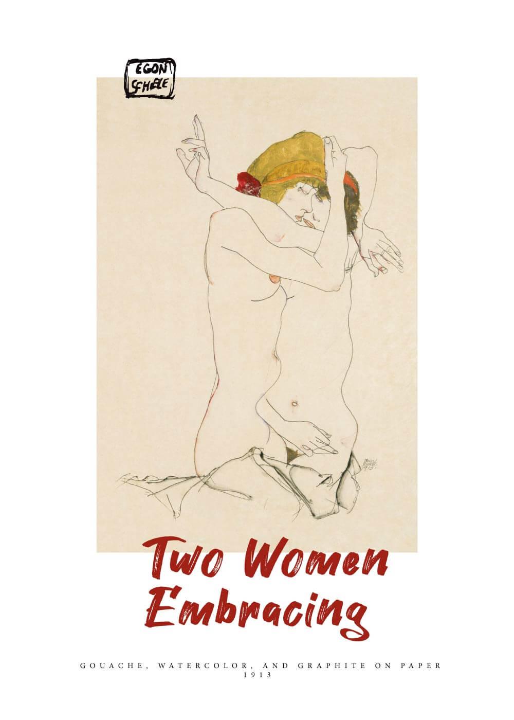 Billede af Two women embrasing - Egon Schiele