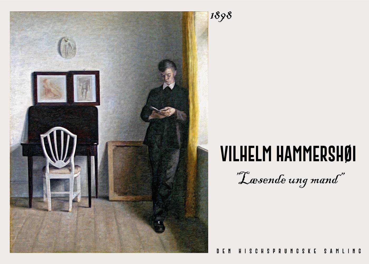Billede af Læsende ung mand - Vilhelm Hammershøi Kunstplakat