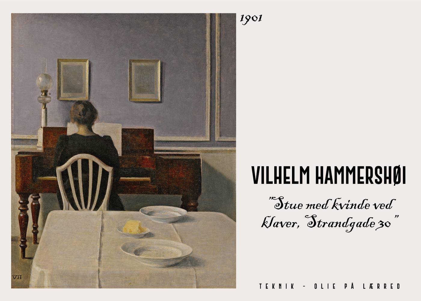 Billede af Kvinde med klaver - Vilhelm Hammershøi Kunstplakat