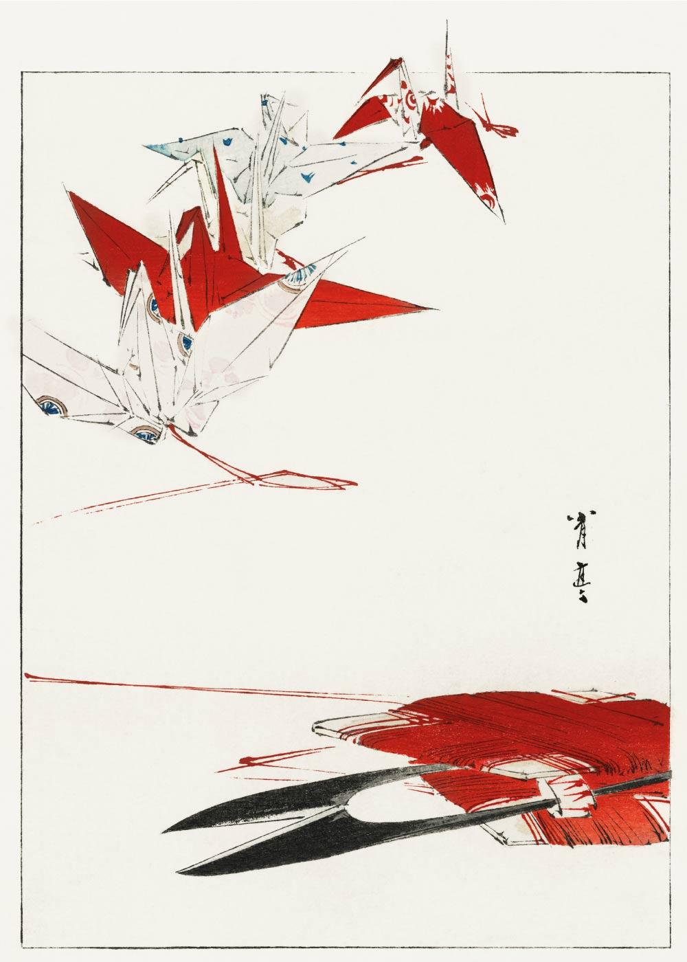Bird origami - Japansk kunstplakat