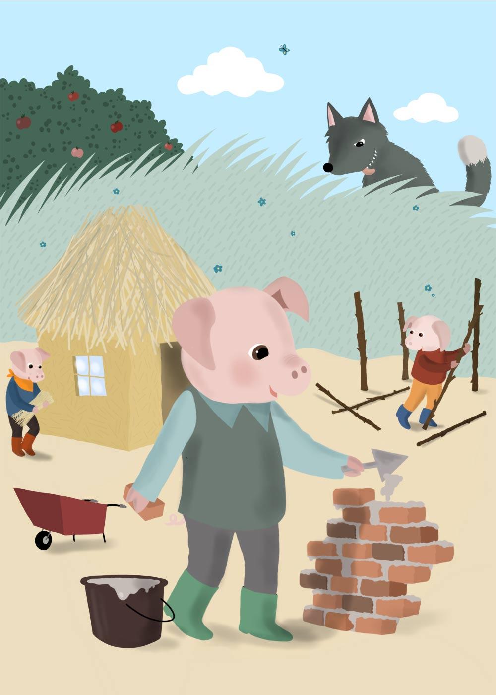 Billede af De tre små grise - Eventyrplakat
