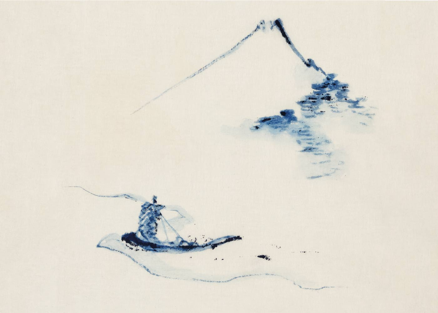 Billede af A Small boat on a river - Japansk kunstplakat