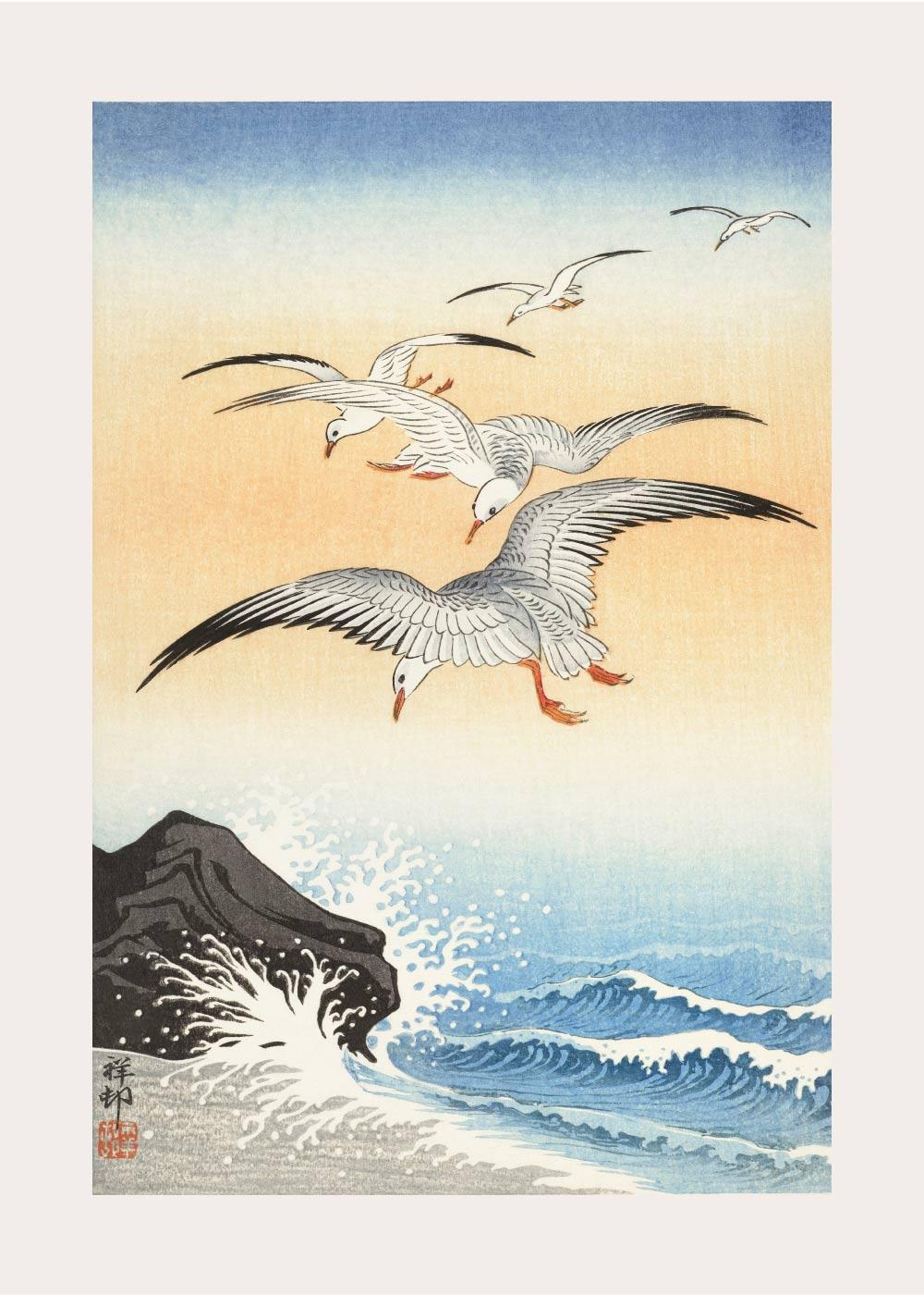 Billede af Five seagulls above the sea - Japansk kunstplakat