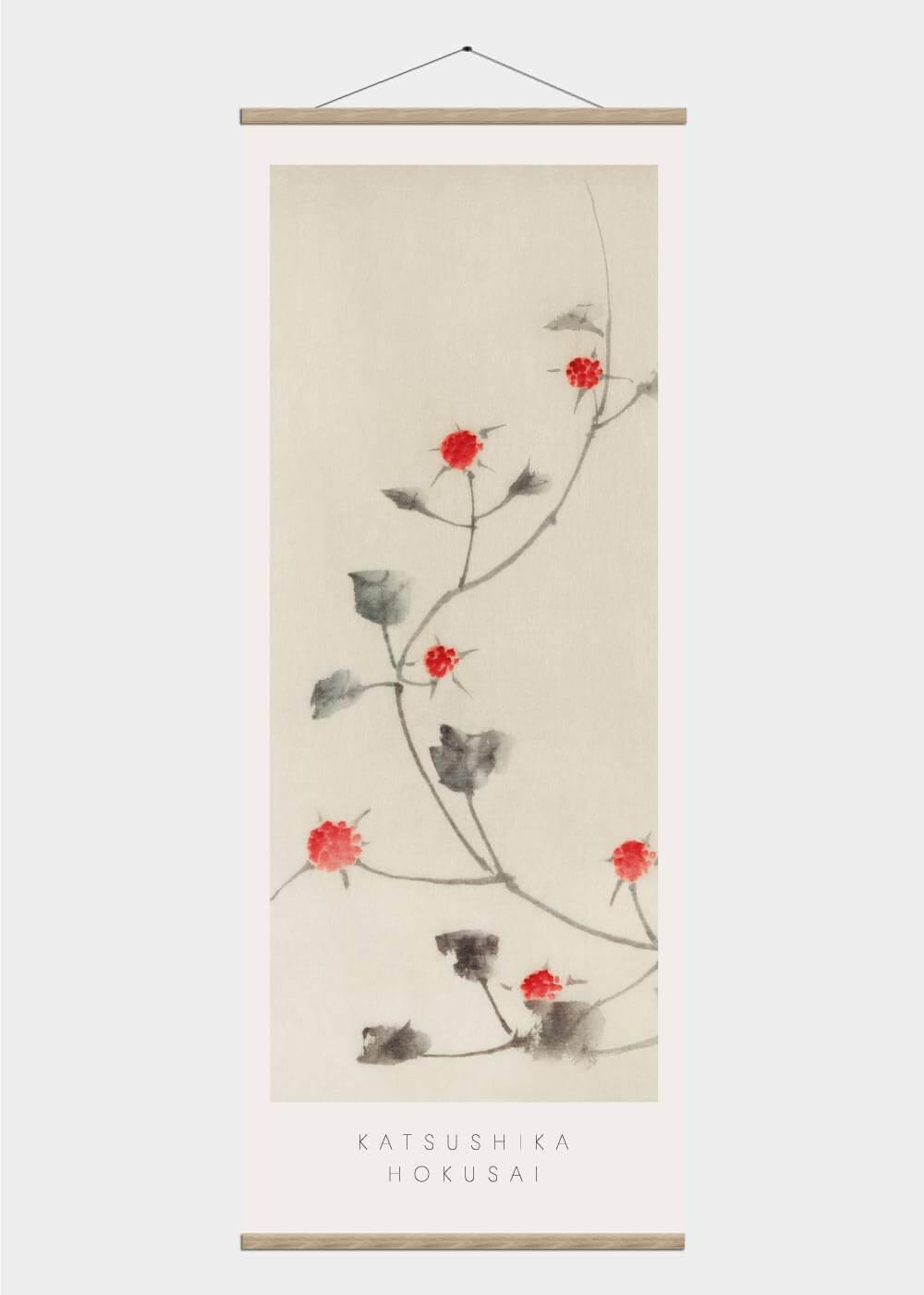 Billede af Japanese red blossoms - Japansk kunst plakat