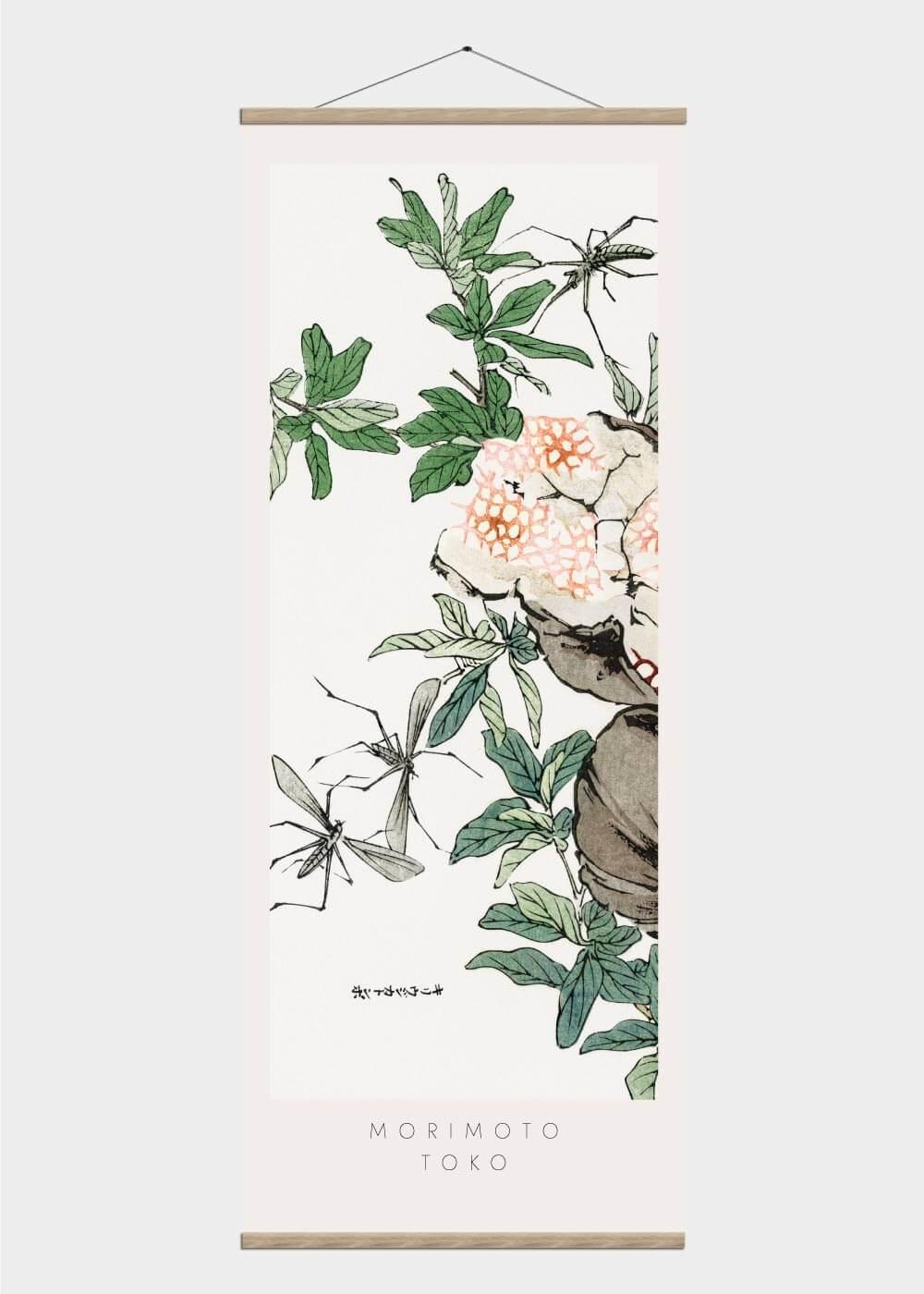 Billede af Japanese pomegranates - Japansk kunst plakat