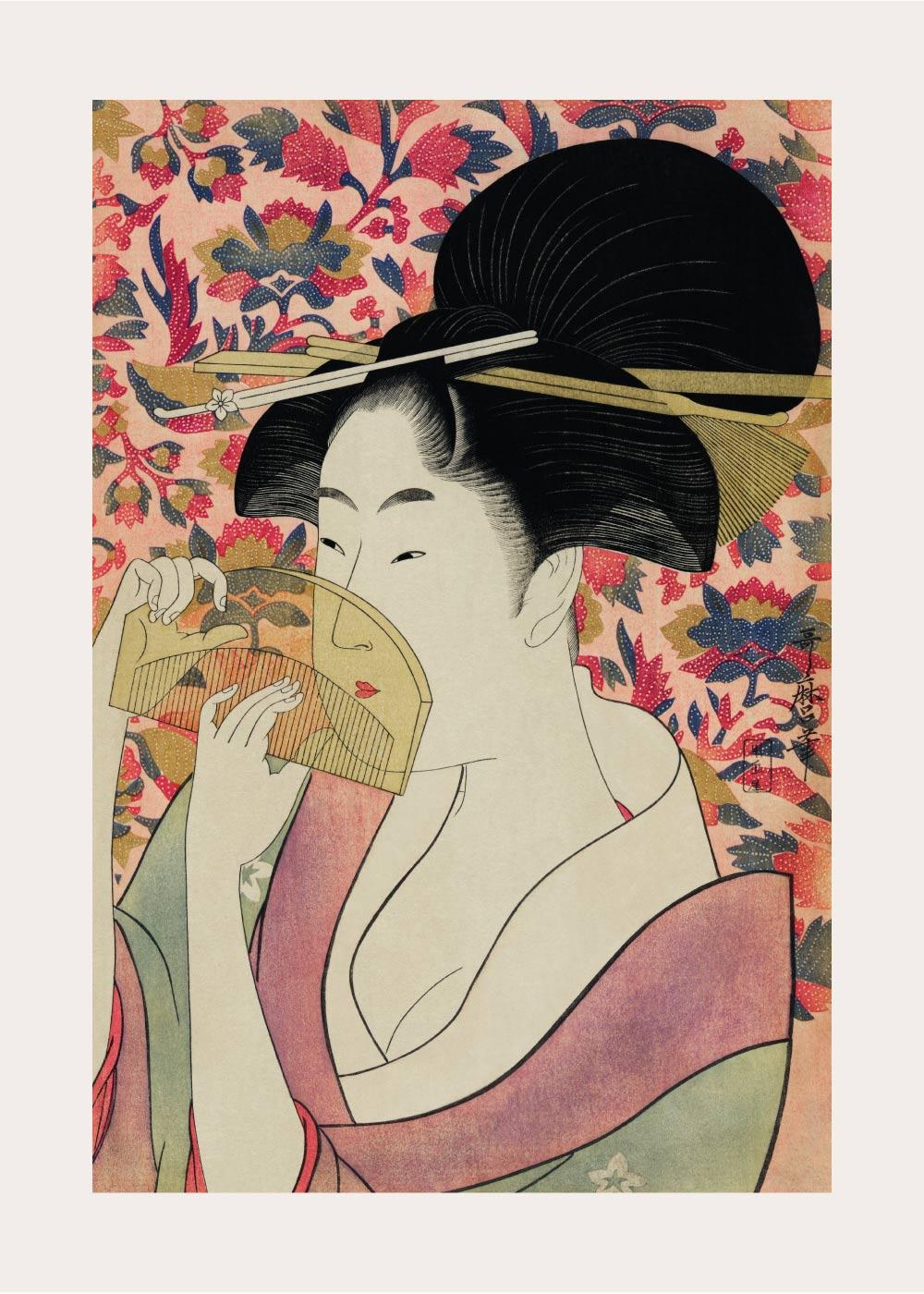 Billede af Japanese woman holding a comb - Japansk kunstplakat